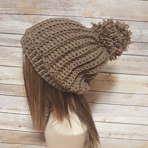 1cc495ea One Chic Boutique Accessories | Cafe Latte Crochet Ribbed Hat With ...